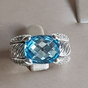 David Yurman Blue Topaz Diamond Sculpted Ring